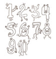 Set of cute and funny colorful number characters