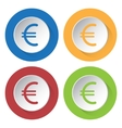 set of four icons - euro currency symbol vector image