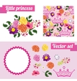 Set of pink floral elements with crown Collect vector image