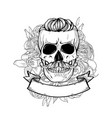 skull with hairstyle and moustaches vector image vector image