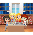 Students reading books in the library vector image vector image