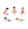 swimming children happy kids little beach girl vector image vector image