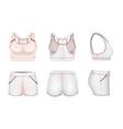 white women sports bra crop top shorts mockup