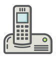 wireless telephone colorful line icon household vector image