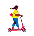 woman riding elecctric push scooter flat style vector image vector image