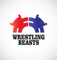 Wrestling logo template Two stomping bears vector image