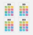 2020 calendar templatestarts mondayyearly vector image vector image
