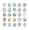 a pack of flat business icons vector image