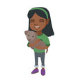 african-american happy girl holding a dog vector image vector image