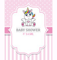 baby shower girl cute unicorn vector image vector image