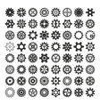 black gears icons isolated vector image vector image