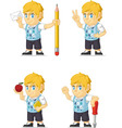 Blonde Rich Boy Customizable Mascot 14 vector image vector image