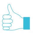 blue color silhouette of right hand thumb up vector image vector image