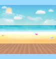 bright sea beach with a real wood floor vector image vector image