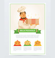 cartoon character of italian pizzaiolo holding vector image vector image