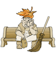 cartoon janitor man sitting on a bench vector image vector image