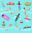 cartoon people set in sea or ocean vector image vector image