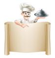 chef menu scroll vector image vector image
