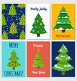 christmas and new year cards template with cartoon vector image