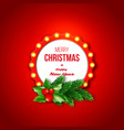 christmas retro frame with realistic glowing vector image