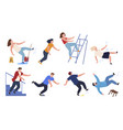 collection falling people cartoon vector image vector image