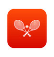 crossed tennis rackets and ball icon digital red vector image vector image