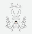 easter poster with cute rabbit in floral arch in vector image