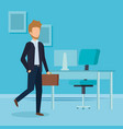 elegant businessman with portfolio in the office vector image