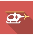Emergency Helicopter Flat Square Icon with Long vector image vector image