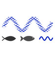 fish halftone sinusoid wave composition vector image vector image