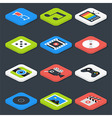 Flat Multimedia Video Audio Isometric Icons Set vector image vector image