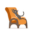 funny red cat awaking and stretching its body on vector image vector image