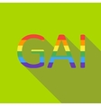 Gay rainbow word icon flat style vector image vector image