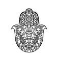 hamsa symbol fatima hand pattern indian mandala vector image