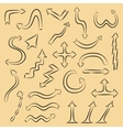 Hand drawn style arrows set Collection of black vector image