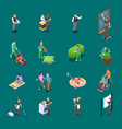 home staff isometric icons vector image vector image