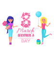 international womens day lady bouquet of flowers vector image