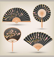 japanese and chinese hand fans set vector image vector image