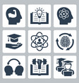 knowledge and education related icons vector image