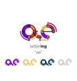 Linear initial letters logo branding concept vector image