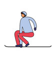man practicing with snowboarding winter vector image