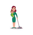 mother cleaning the floor with baby in her arms vector image