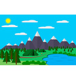 Mountains with forest and lake landscape flat for vector image vector image