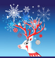 new year card with a merry portrait of a deer vector image
