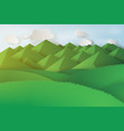 paper art of green grass and mountains on a vector image vector image