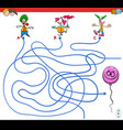 paths maze game with clowns and balloon vector image vector image