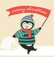 penquin in winter warm sweater and holding red vector image vector image