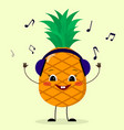 pineapple smiley in headphones vector image