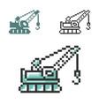 pixel icon tractor crane in three variants vector image