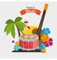 Poster tropical music dumb guitar maraca palm and